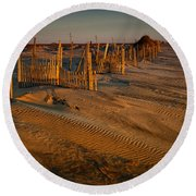Dune Erosion Fence Outer Banks Nc Img3748 Round Beach Towel