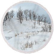 Dune Trees And Snow Round Beach Towel