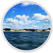 Dunes And Lake Michigan Round Beach Towel by Michelle Calkins