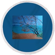 Lake Michigan Dunes Round Beach Towel