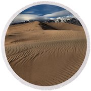 Dunes Ripples And Clouds Round Beach Towel