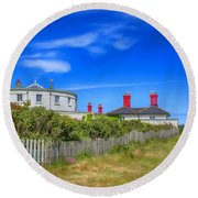 Dungeness Lighthouse Quarters Round Beach Towel