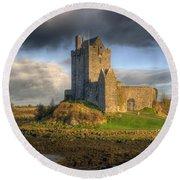 Dunguaire Castle With Dramatic Sky Kinvara Galway Ireland Round Beach Towel