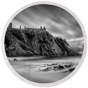 Dunnottar Castle 2 Round Beach Towel by Dave Bowman