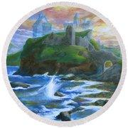 Dunscaith Castle - Shadows Of The Past Round Beach Towel