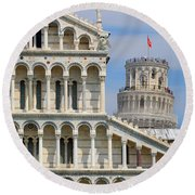 Duomo And Campanile Round Beach Towel