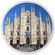Duomo In Milano. Italy Round Beach Towel by Antonio Scarpi