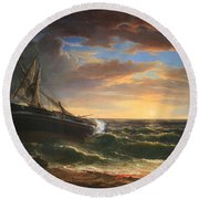 Durand's The Stranded Ship Round Beach Towel