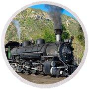 Durango To Silverton Train Round Beach Towel