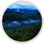 Dusk In The Smoky Mountains   Round Beach Towel