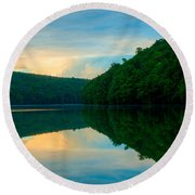 Dusk On Crescent Lake Round Beach Towel