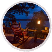 Dusk On The Lake Square Round Beach Towel