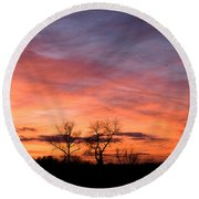 Dust Bunnies At Sundown Round Beach Towel