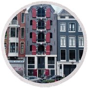 Dutch Canal House Round Beach Towel