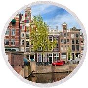 Dutch Canal Houses In Amsterdam Round Beach Towel