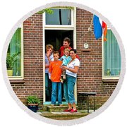 Dutch Family On Orange Day In Enkhuizen-netherlands Round Beach Towel