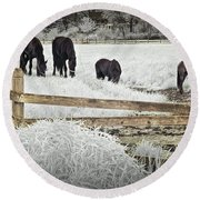 Dutch Friesian Horses Behind A Wooden Fence In A Pasture Round Beach Towel