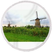 Dutch Landscape With Windmills Round Beach Towel by Carol Groenen