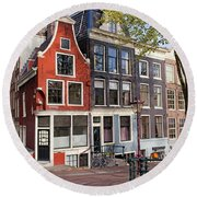Dutch Style Traditional Houses In Amsterdam Round Beach Towel