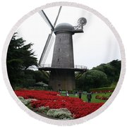 Dutch Windmill In Golden Gate Park Round Beach Towel