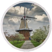 Dutch Windmill The Dezwaan On Windmill Island In Holland Michigan Round Beach Towel