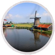 Dutch Windmills Round Beach Towel