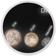 Dwarf Planets, Illustration Round Beach Towel