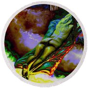Dwelling In Erotic Pleaseure Round Beach Towel
