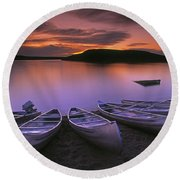 D.wiggett Canoes On Shore, Pink And Round Beach Towel