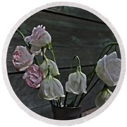 Dying Grieving Flowers Round Beach Towel