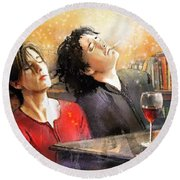 Dylan Moran And Tamsin Greig In Black Books Round Beach Towel