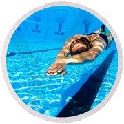 Dynamic Apnoea Round Beach Towel by Hagai Nativ
