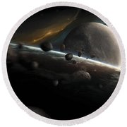 Dynamic Space Scene With Incoming Round Beach Towel