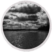 Dynamic Storm Over The Marsh Round Beach Towel