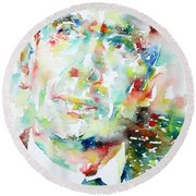 E. E. Cummings - Watercolor Portrait Round Beach Towel