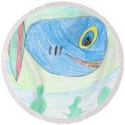 E' S Blue Fish Round Beach Towel