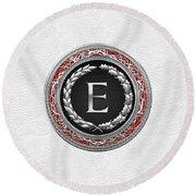 E - Silver Vintage Monogram On White Leather Round Beach Towel