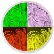E Vincent Negative Quad Colors Round Beach Towel