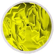 E Vincent Negative Yellow Round Beach Towel