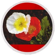 Eager Poppies Round Beach Towel