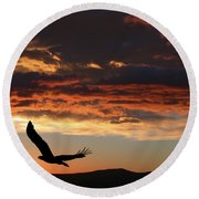 Eagle At Sunset Round Beach Towel