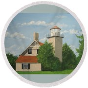Eagle Bluff Lighthouse Wisconsin Round Beach Towel