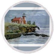 Eagle Harbor Lighthouse Round Beach Towel
