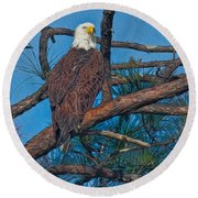 Eagle In Oil Round Beach Towel