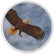 Eagle In The Sky Round Beach Towel