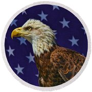Eagle In The Starz Round Beach Towel