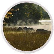 Eagle Lake Sunrise Round Beach Towel