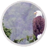 Eagle Looking For Breakfast On A Misty Morning Round Beach Towel