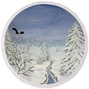 Eagle On Winter Lanscape Round Beach Towel