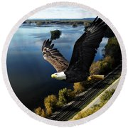 Eagle Over Mississippi  Round Beach Towel